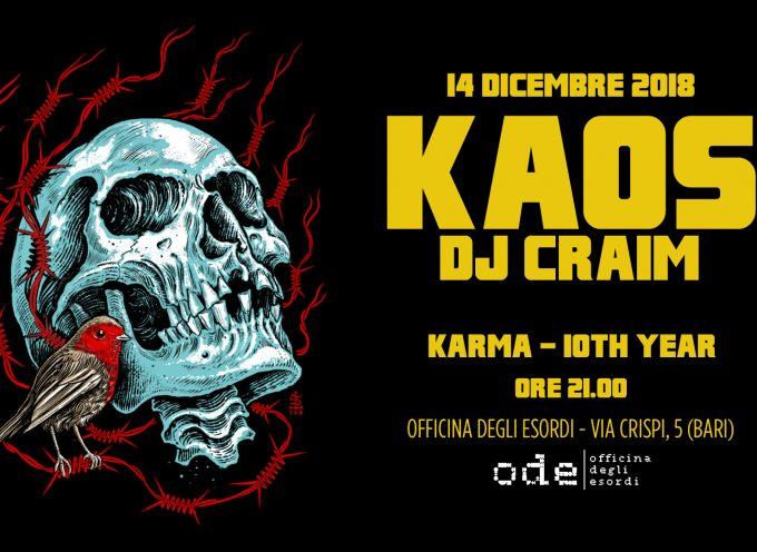 Kaos One e Dj Craim all'Officina degli Esordi di Bari, venerdì 14 dicembre per il decennale di Karma